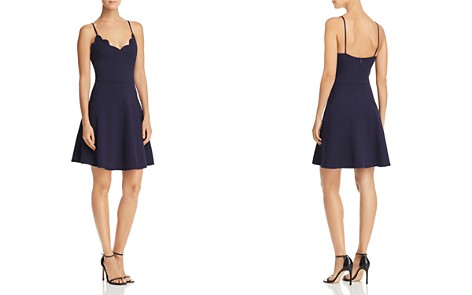 AQUA Scalloped V-Neck Fit-and-Flare Dress - 100% Exclusive - Bloomingdale's_2