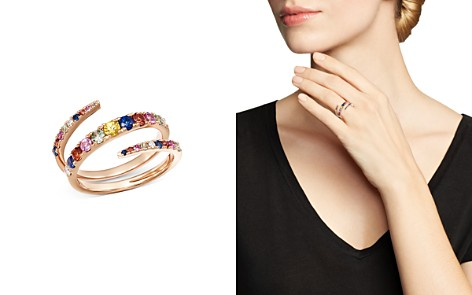 Bloomingdale's Multicolor Sapphire & Diamond Spiral Ring in 14K Rose Gold - 100% Exclusive _2