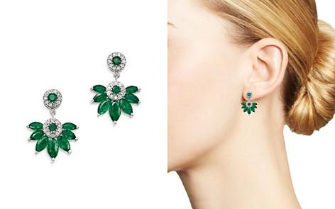 Bloomingdale's Emerald Marquis & Diamond Fan Drop Earrings in 14K White Gold - 100% Exclusive _2