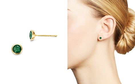 Bloomingdale's Emerald Bezel Stud Earrings in 14K Yellow Gold - 100% Exclusive _2