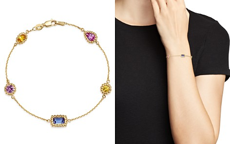 Bloomingdale's Multicolor Sapphire Beaded Station Bracelet in 14K Yellow Gold - 100% Exclusive _2