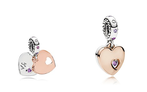 PANDORA Rose Gold-Tone Sterling Silver Part of My Heart Drop Charm - Bloomingdale's_2