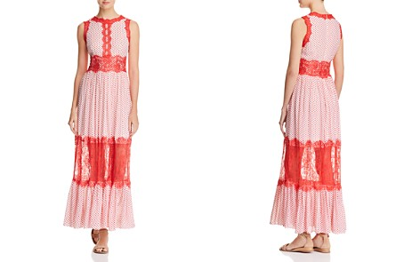 AQUA Lace Appliqué Polka Dot Maxi Dress - 100% Exclusive - Bloomingdale's_2