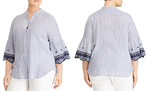 Lauren Ralph Lauren Plus Striped Bell-Sleeve Shirt - Bloomingdale's_2