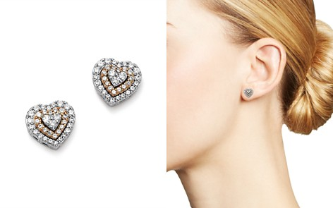 Bloomingdale's Diamond Heart Stud Earrings in 14K Rose & White Gold, 0.33 ct. t.w. - 100% Exclusive _2