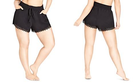City Chic Plus Laser-Cut Drawstring Shorts - Bloomingdale's_2
