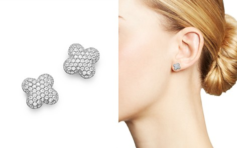 Bloomingdale's Diamond Clover Stud Earrings in 14K White Gold - 100% Exclusive _2