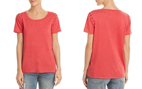 CHASER Lace-Up Sleeve Tee - Bloomingdale's_2