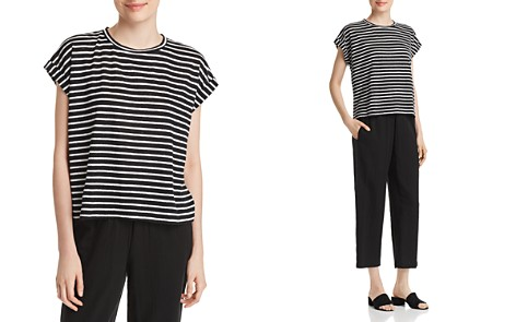 Eileen Fisher Striped Roll-Cuff Top - Bloomingdale's_2