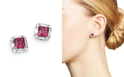 Bloomingdale's Rhodolite Garnet & Diamond Square Earrings in 14K White Gold - 100% Exclusive _2
