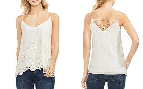 VINCE CAMUTO Scalloped Eyelet Lace-Up Top - Bloomingdale's_2