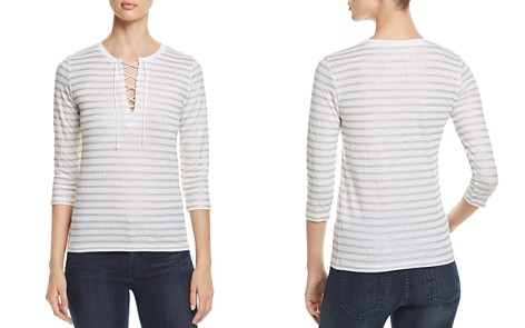 Majestic Filatures Metallic Striped Lace-Up Tee - Bloomingdale's_2