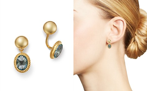 Bloomingdale's Blue Topaz Oval Drop Ear Jackets in 14K Yellow Gold - 100% Exclusive _2