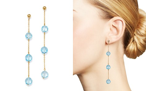 Bloomingdale's Blue Topaz Three-Stone Drop Earrings in 14K Yellow Gold - 100% Exclusive _2
