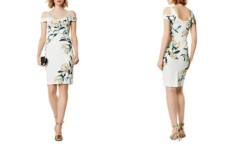 KAREN MILLEN Floral Cold-Shoulder Sheath Dress - Bloomingdale's_2