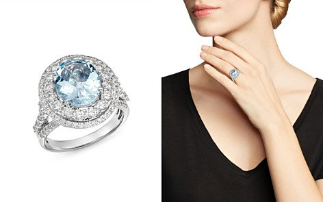 Bloomingdale's Aquamarine & Diamond Statement Ring in 14K White Gold - 100% Exclusive _2