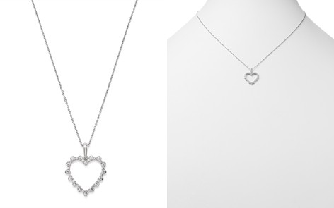 Bloomingdale's Diamond Heart Pendant Necklace in 14K White Gold, 0.20 ct. t.w. - 100% Exclusive _2