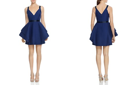 HALSTON HERITAGE Structured Ruffled Fit-and-Flare Dress - Bloomingdale's_2