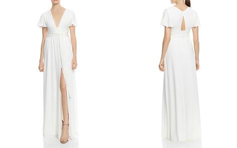 HALSTON HERITAGE Flutter-Sleeve Jersey Gown - Bloomingdale's_2