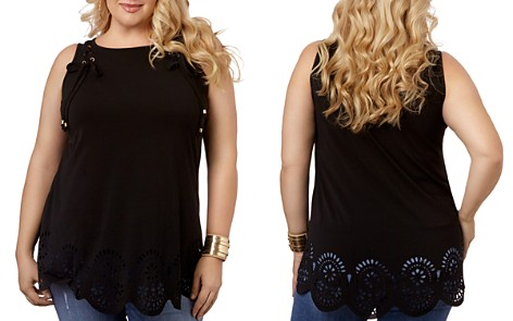 Belldini Plus Sleeveless Lace-Up Laser-Cut Top - 100% Exclusive - Bloomingdale's_2