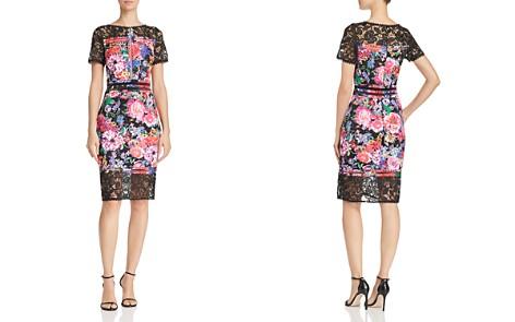 Tadashi Shoji Lace-Trimmed Floral-Print Sheath Dress - Bloomingdale's_2