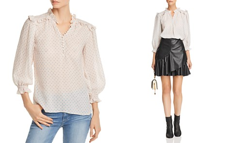 Rebecca Taylor Ruffle-Trimmed Dot-Print Textured Blouse - Bloomingdale's_2