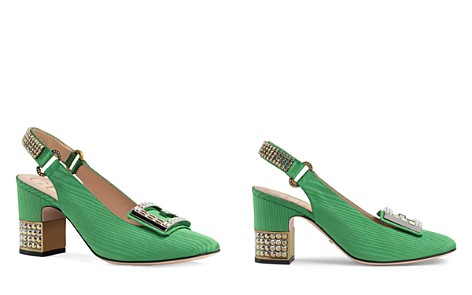 Gucci Women's Madelyn Silk Satin & Crystal G Mid Heel Pumps - Bloomingdale's_2