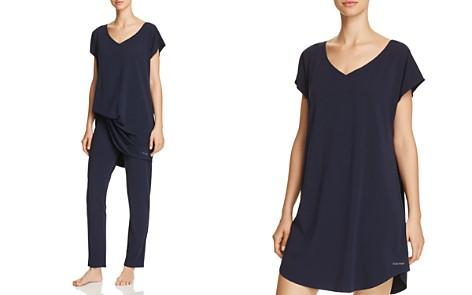 Calvin Klein CK Black Structure Cotton Sleepshirt & Sleep Pants - Bloomingdale's_2