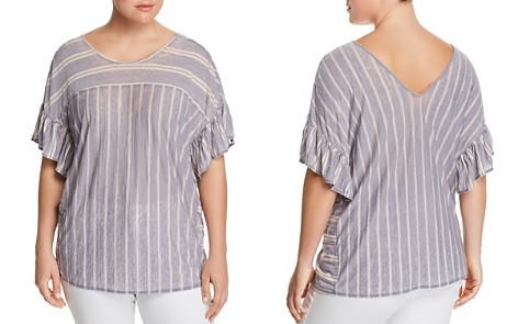 Lucky Brand Plus Ruffle Stripe Top - Bloomingdale's_2