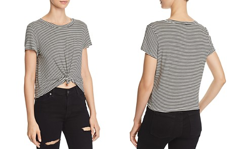 AQUA Knot-Front Striped Tee - 100% Exclusive - Bloomingdale's_2