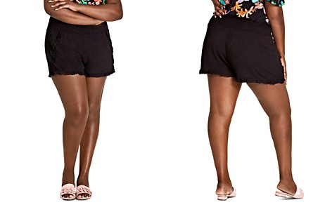 City Chic Plus Island Holiday Ruffle-Trim Shorts - Bloomingdale's_2