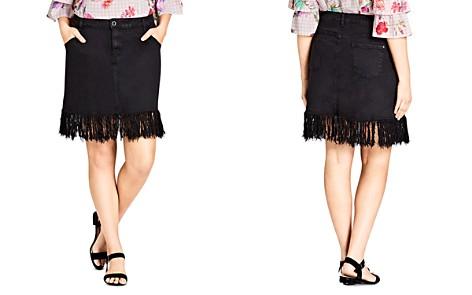 City Chic Plus Fringe Hem Denim Skirt in Black - Bloomingdale's_2