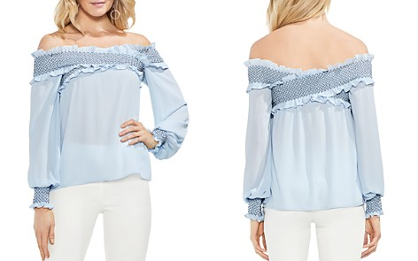 VINCE CAMUTO Smocked Crossover Off-the-Shoulder Top - Bloomingdale's_2