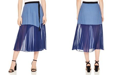 Sandro Valeke Striped & Mesh Midi Skirt - Bloomingdale's_2