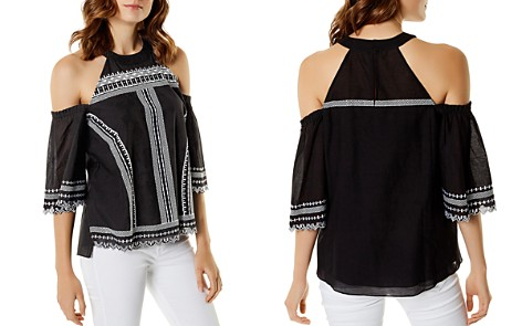 KAREN MILLEN Embroidered Cold-Shoulder Top - Bloomingdale's_2