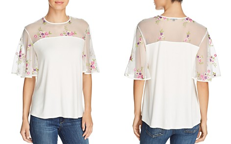 Kim & Cami Floral-Embroidered Flutter-Sleeve Top - Bloomingdale's_2