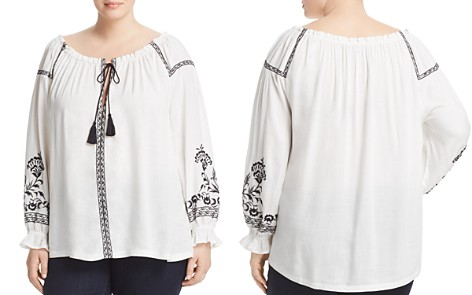Lucky Brand Plus Bai Embroidered Boat Neck Peasant Top - Bloomingdale's_2