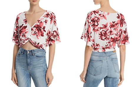AQUA Floral Twist-Front Cropped Top - 100% Exclusive - Bloomingdale's_2