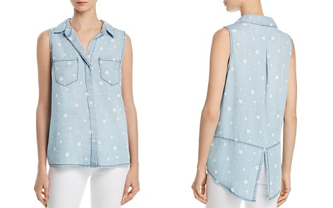AQUA Star Print Sleeveless Chambray Shirt - 100% Exclusive - Bloomingdale's_2