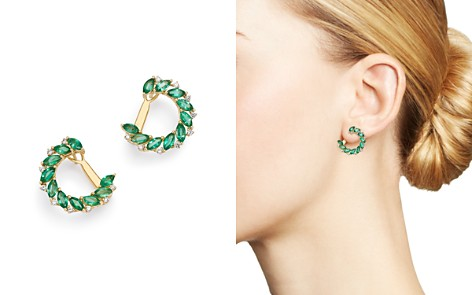 Bloomingdale's Emerald Marquis & Diamond Front-to-Back Earrings in 18K Yellow Gold - 100% Exclusive _2