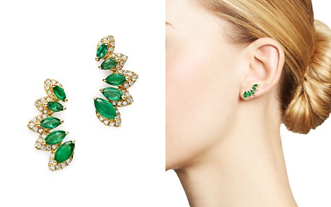 Bloomingdale's Emerald & Diamond Climber Earrings in 14K Yellow Gold - 100% Exclusive _2