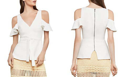 BCBGMAXAZRIA Cold-Shoulder Peplum Top - Bloomingdale's_2