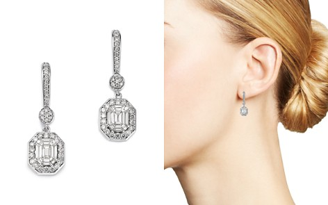 Bloomingdale's Diamond Mosaic & Halo Drop Earrings in 14K White Gold, 1.0 ct. t.w. - 100% Exclusive _2