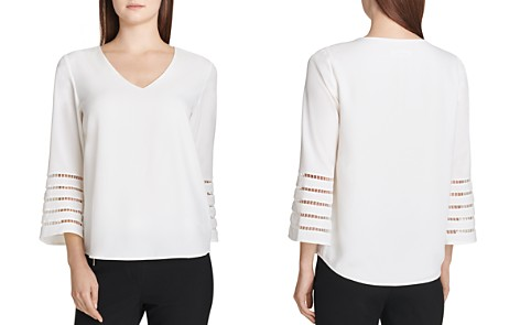 Calvin Klein Embroidered Stripe Trim Top - Bloomingdale's_2