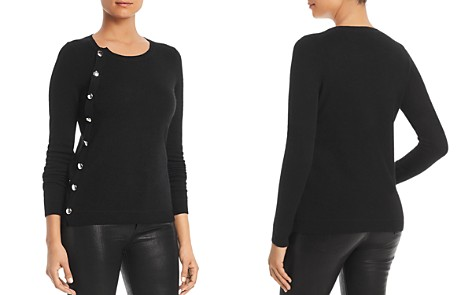 C by Bloomingdale's Asymmetric Button Cashmere Sweater - 100% Exclusive _2