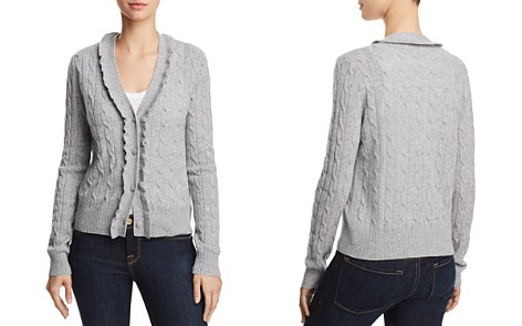AQUA Cashmere Ruffled Cable-Knit Cashmere Cardigan - 100% Exclusive - Bloomingdale's_2