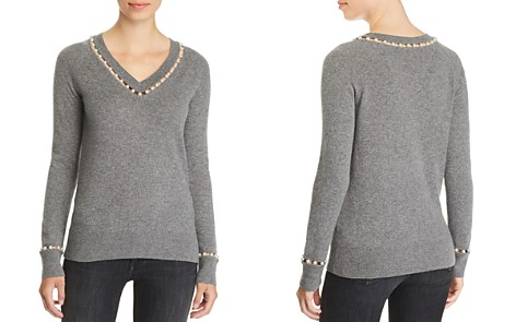 C by Bloomingdale's Embellished V-Neck Cashmere Sweater - 100% Exclusive _2