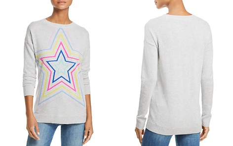 AQUA Cashmere Multi Star Crewneck Cashmere Sweater - 100% Exclusive - Bloomingdale's_2