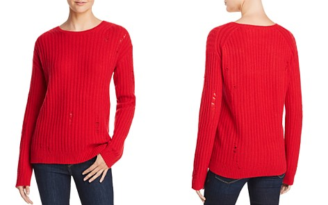 AQUA Cashmere Rib-Knit Distressed Cashmere Sweater - 100% Exclusive - Bloomingdale's_2