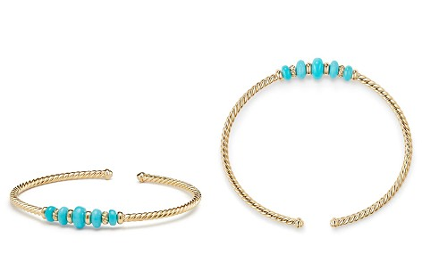David Yurman Rio Rondelle Cabled Cuff Bracelet with Turquoise in 18K Gold - Bloomingdale's_2